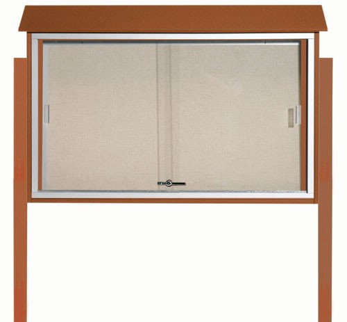 "Aarco Products PLDS3045DPP-5 Cedar Sliding Door Plastic Lumber Message Center with Vinyl Posting Surface (Posts Included), 30""H x 45""W"