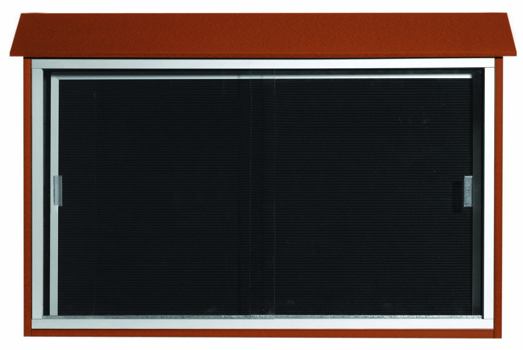 """Aarco Products PLDS3045L-5 Cedar Sliding Door Plastic Lumber Message Center with Letter Board, 30""""H x 45""""W."""