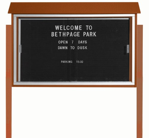 "Aarco Products PLDS3045LDPP-5 Cedar Sliding Door Plastic Lumber Message Center with Letter Board (Posts Included), 30""H x 45""W"