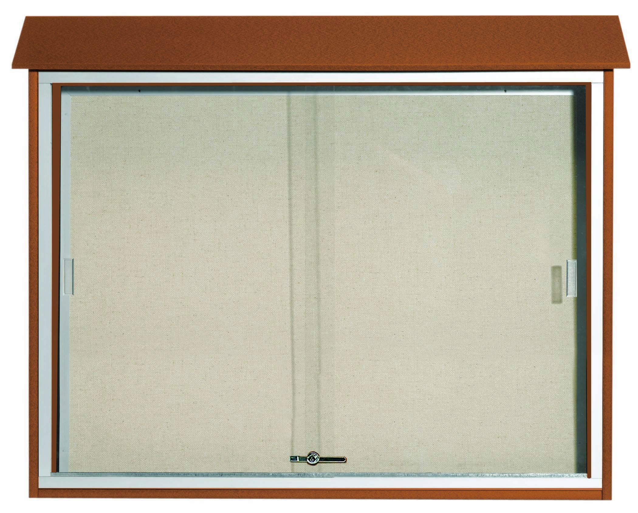 "Aarco Products PLDS3645-5 Cedar Sliding Door Plastic Lumber Message Center with Vinyl Posting Surface, 36""H x 45""W"