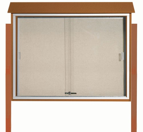 "Aarco Products PLDS3645DPP-5 Cedar Sliding Door Plastic Lumber Message Center with Vinyl Posting Surface (Posts Included), 36""H x 45""W"