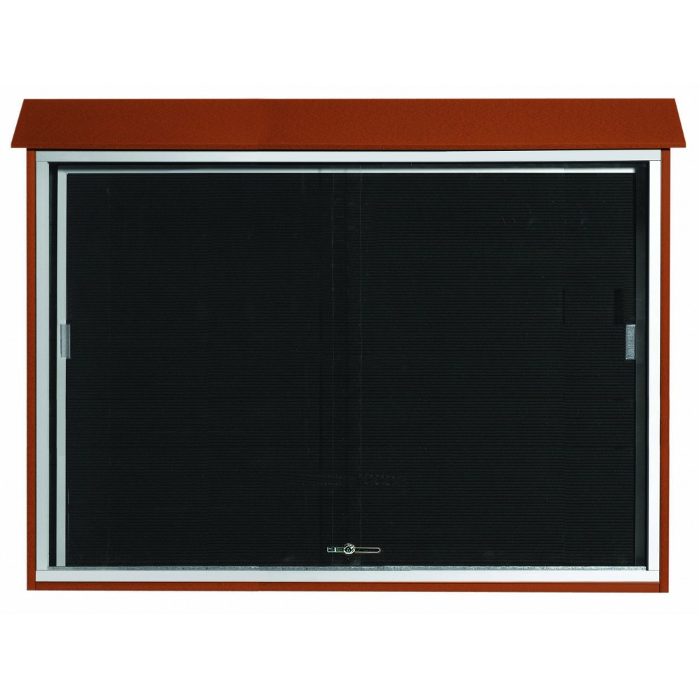 "Aarco Products PLDS4052L-5 Cedar Sliding Door Plastic Lumber Message Center with Letter Board, 40""H x 52""W"