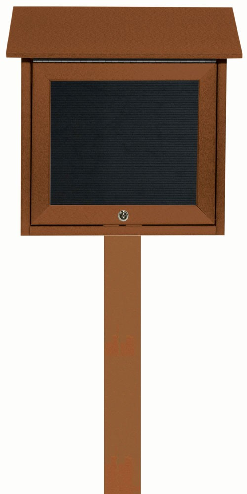 Cedar Slimline Series Top Hinged Single Door Plastic Lumber Message Center with Letter Board (Post Included)- 18