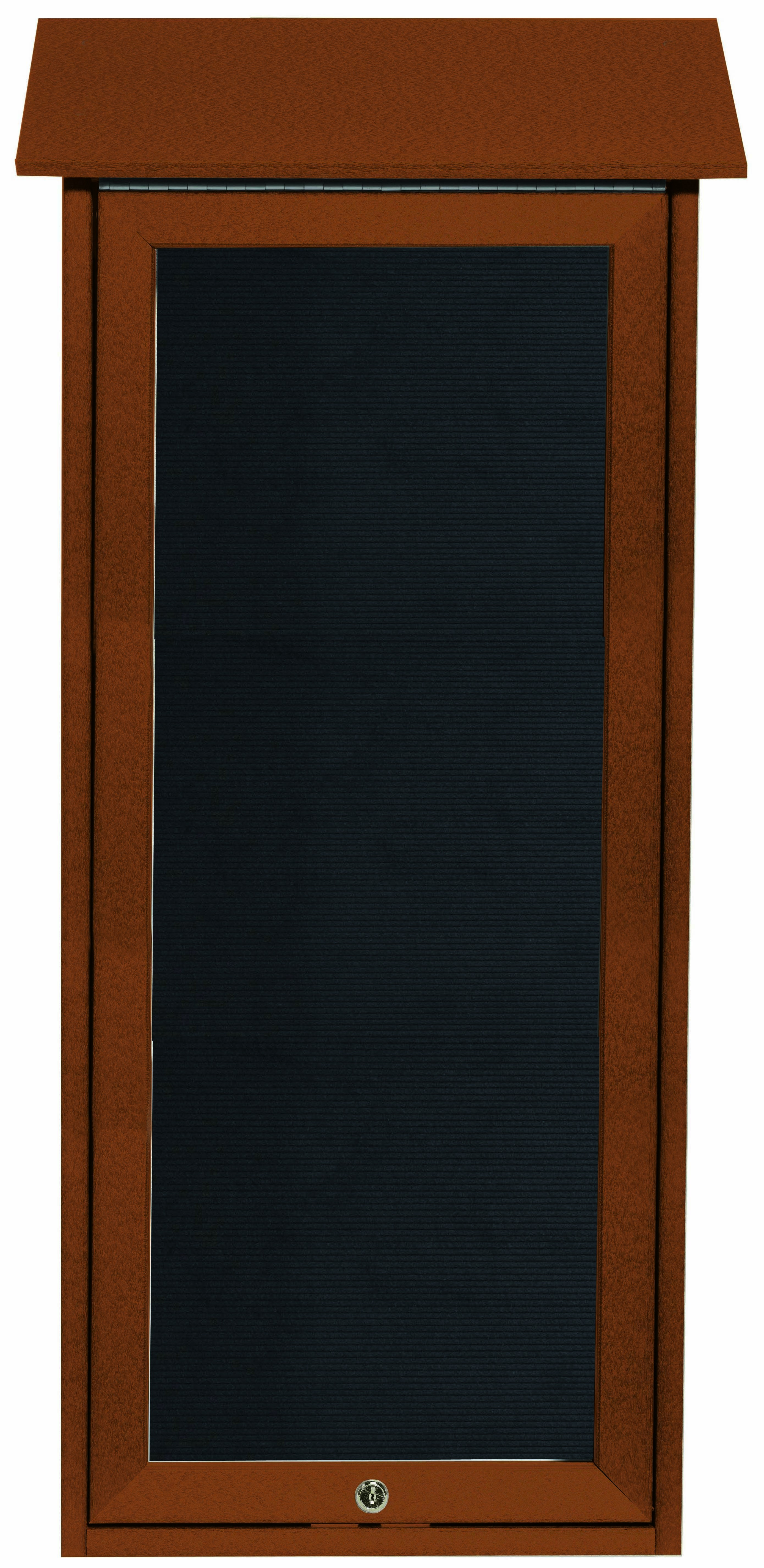 """Aarco Products OPLD3416L-5 Cedar Slimline Series Top Hinged Single Door Plastic Lumber Message Center with Letter Board- 34""""H x 16""""W"""