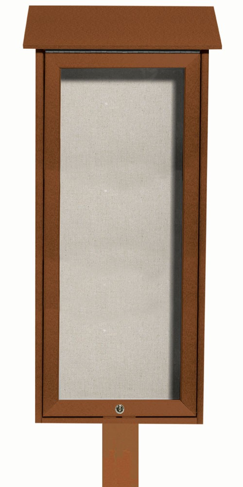 """Aarco Products OPLD3416SPP-5 Cedar Slimline Series Top Hinged Single Door Plastic Lumber Message Center with Vinyl Posting Surface (Post Included) 34""""H x 16""""W"""