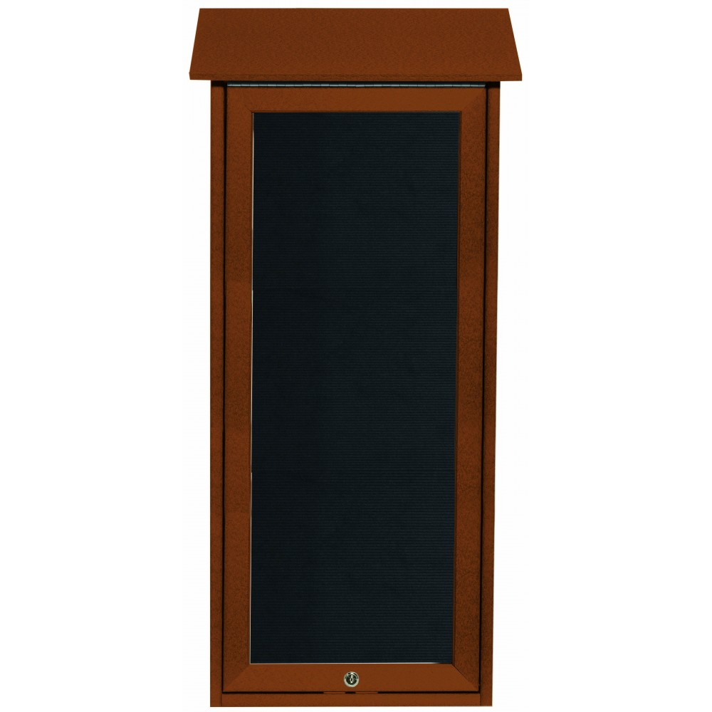 Cedar Slimline Series Top Hinged Single Door Plastic Lumber Message Center with Letter Board- 34