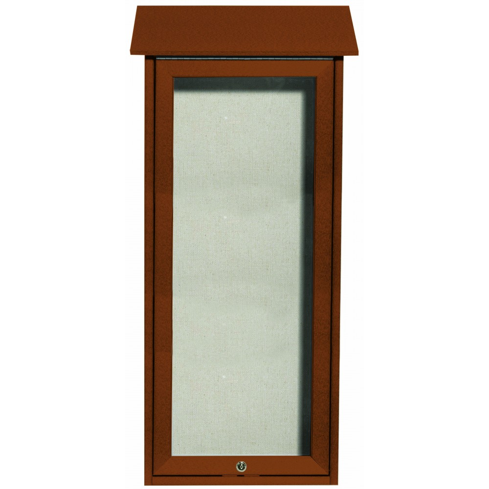 Cedar Slimline Series Top Hinged Single Door Plastic Lumber Message Center with Vinyl Posting Surface- 34