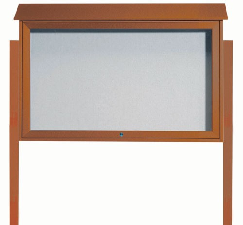 Cedar Top Hinged Single Door Plastic Lumber Message Center with Vinyl Posting Surface (Posts Included)-30