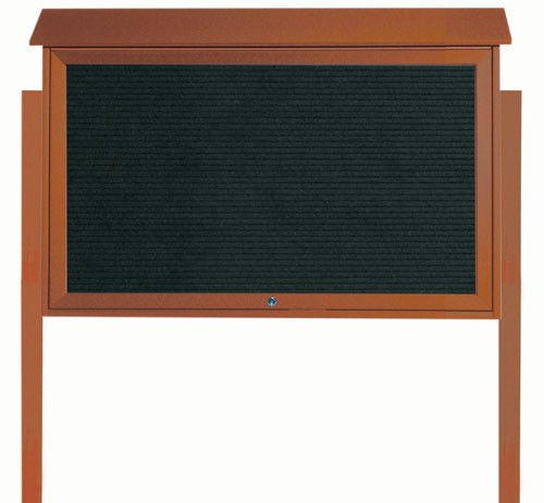 "Aarco Products PLD3045TLDPP-5 Cedar Top Hinged Single Door Plastic Lumber Message Center with Letter Board (Posts Included), 30""H x 45""W"
