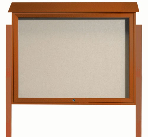 "Aarco Products PLD3645TDPP-5 Cedar Top Hinged Single Door Plastic Lumber Message Center with Vinyl Posting Surface (Posts Included), 36""H x 45""W"