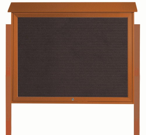 Cedar Top Hinged Single Door Plastic Lumber Message Center with Letter Board (Posts Included)-36