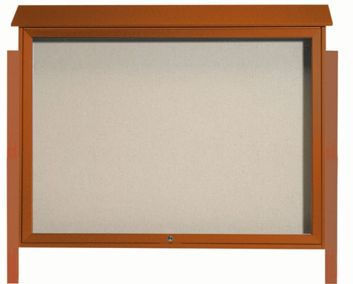 Cedar Top Hinged Single Door Plastic Lumber Message Center with Vinyl Posting Surface (Posts Included)- 40