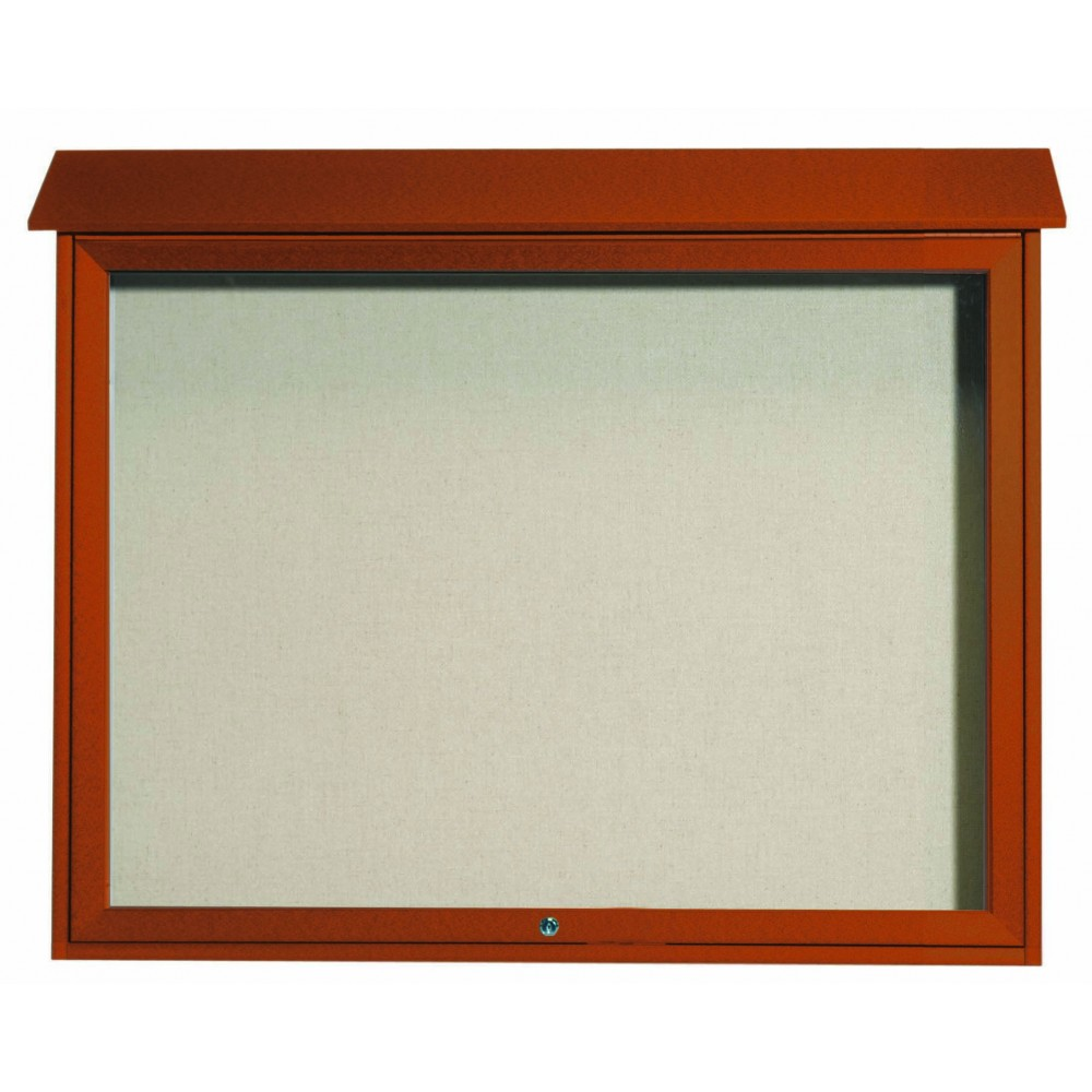 "Aarco Products PLD3645T-5 Cedar Top Hinged Single Door Plastic Lumber Message Center with Vinyl Posting Surface (Posts Included), 36""H x 45""W."