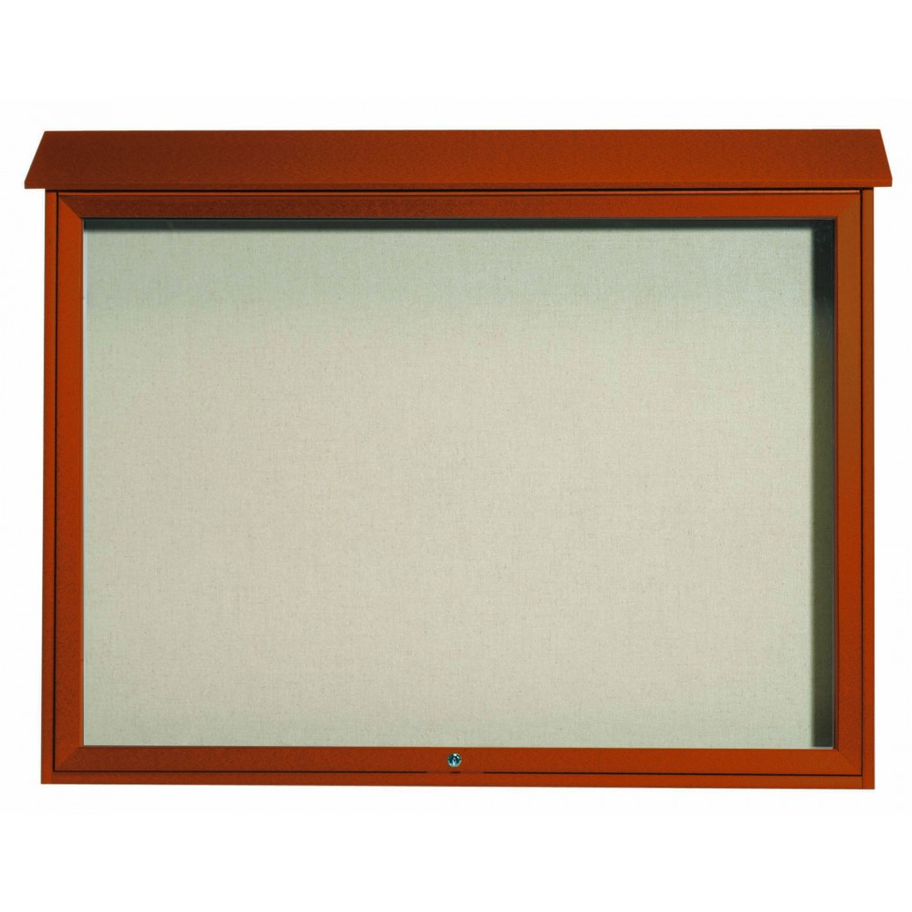 Cedar Top Hinged Single Door Plastic Lumber Message Center with Vinyl Posting Surface-40