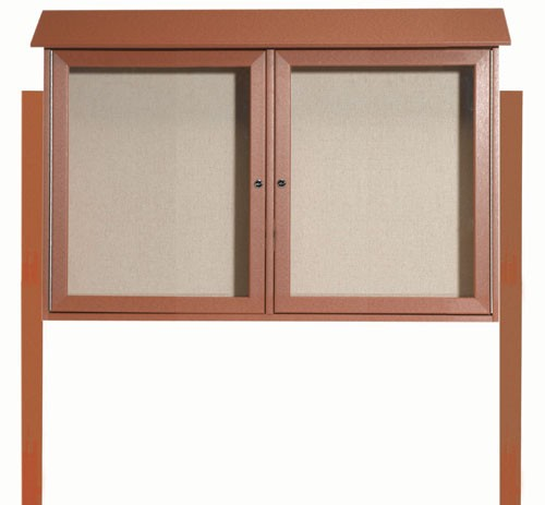 Cedar Two Door Hinged Door Plastic Lumber Message Center with Vinyl Posting Surface (Posts Included)-30