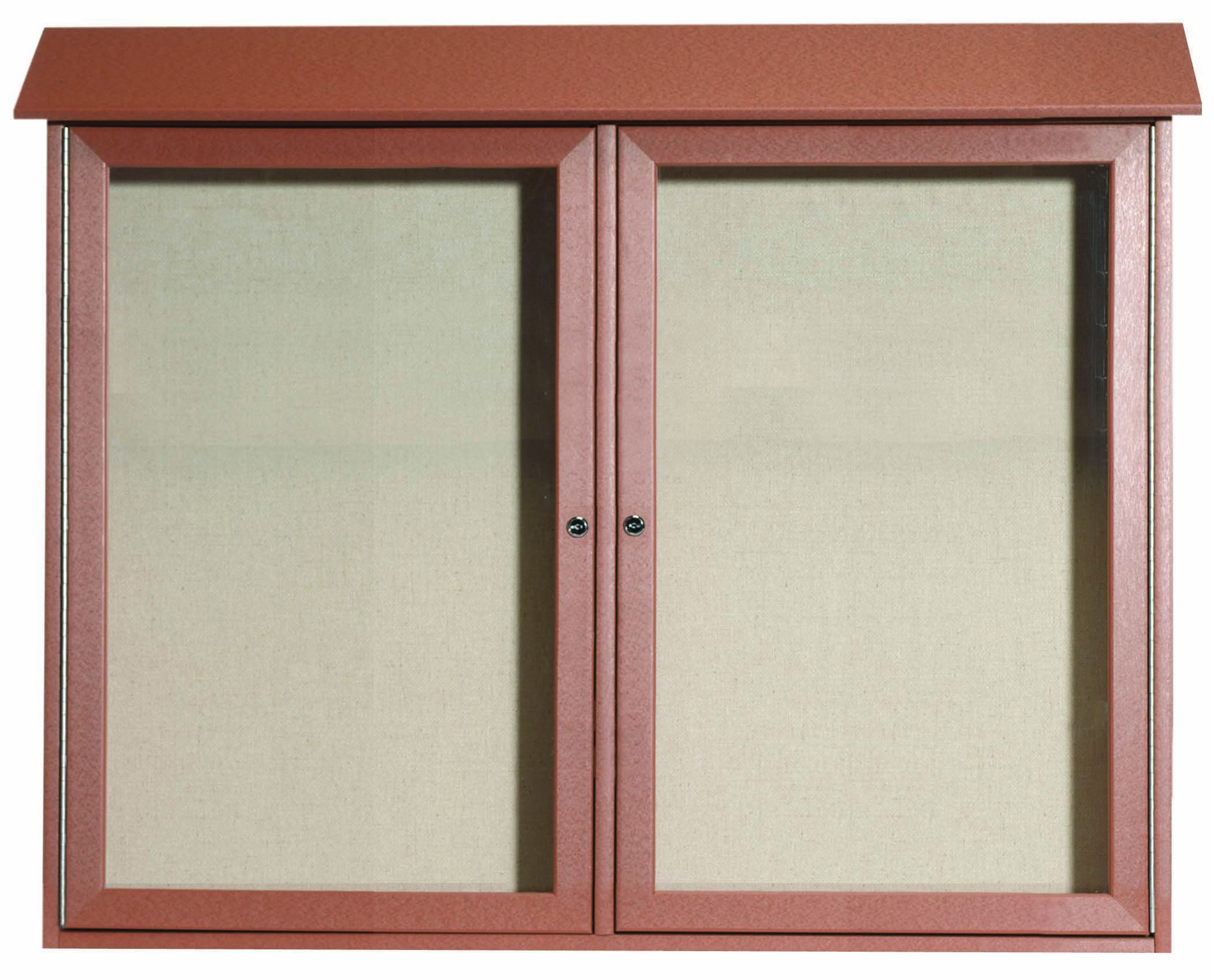 Cedar Two Door Hinged Door Plastic Lumber Message Center with Vinyl Posting Surface-36