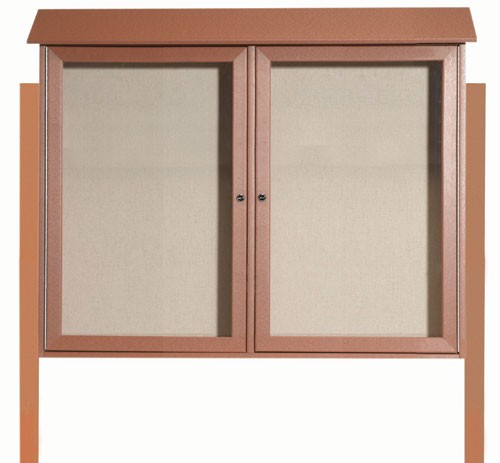 Aarco Products PLD3645-2DPP-5 Cedar Two Door Hinged Door Plastic Lumber Message Center with Vinyl Posting Surface (Posts Included)-PLD3645-2DPP-5