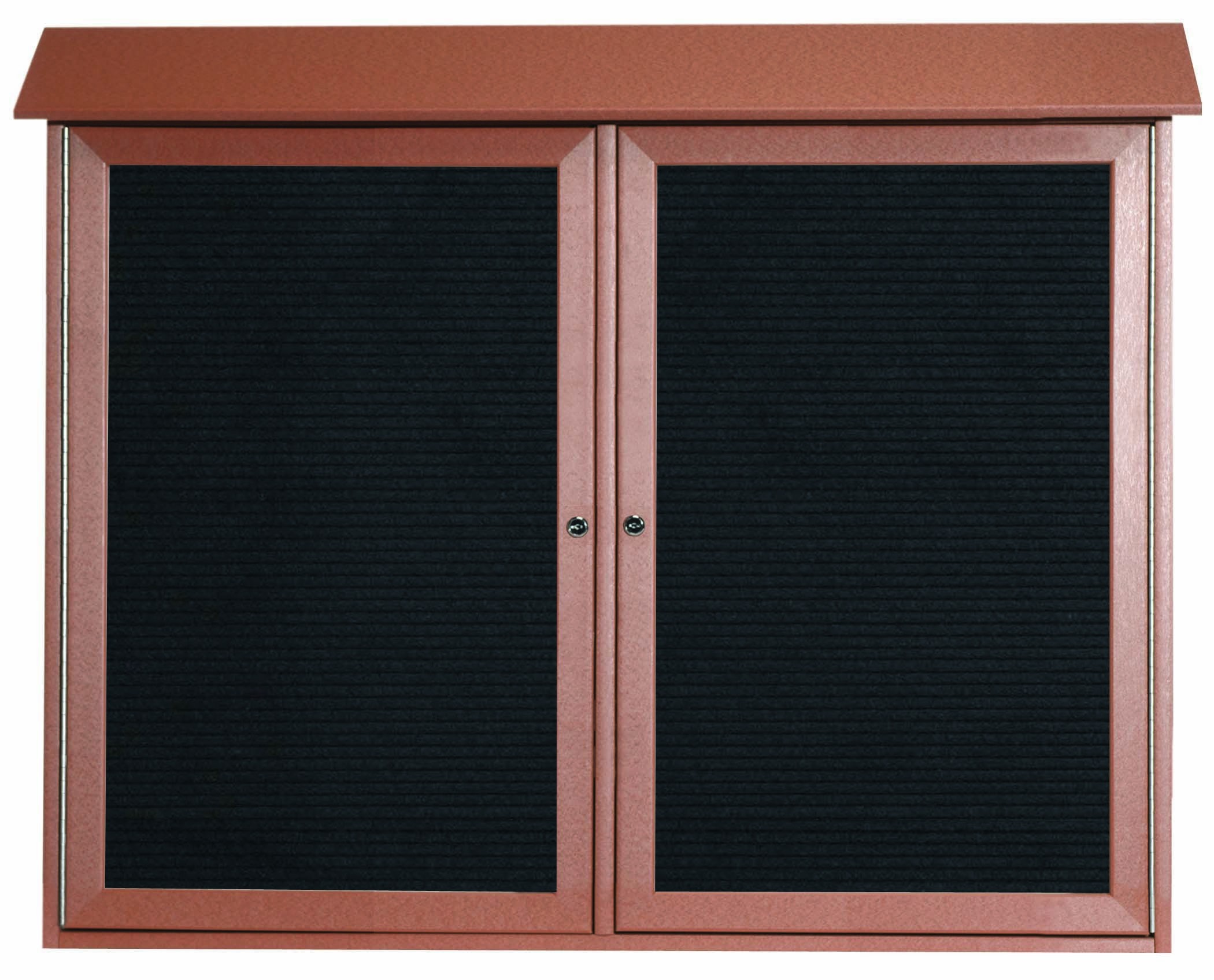 """Aarco Products PLD3645-2L-5 Cedar Two Door Hinged Door Plastic Lumber Message Center with Letter Board, 36""""H x 45""""W"""
