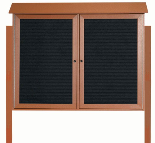 """Aarco Products PLD3645-2LDPP-5 Cedar Two Door Hinged Door Plastic Lumber Message Center with Letter Board (Posts Included), 36""""H x 45""""W"""
