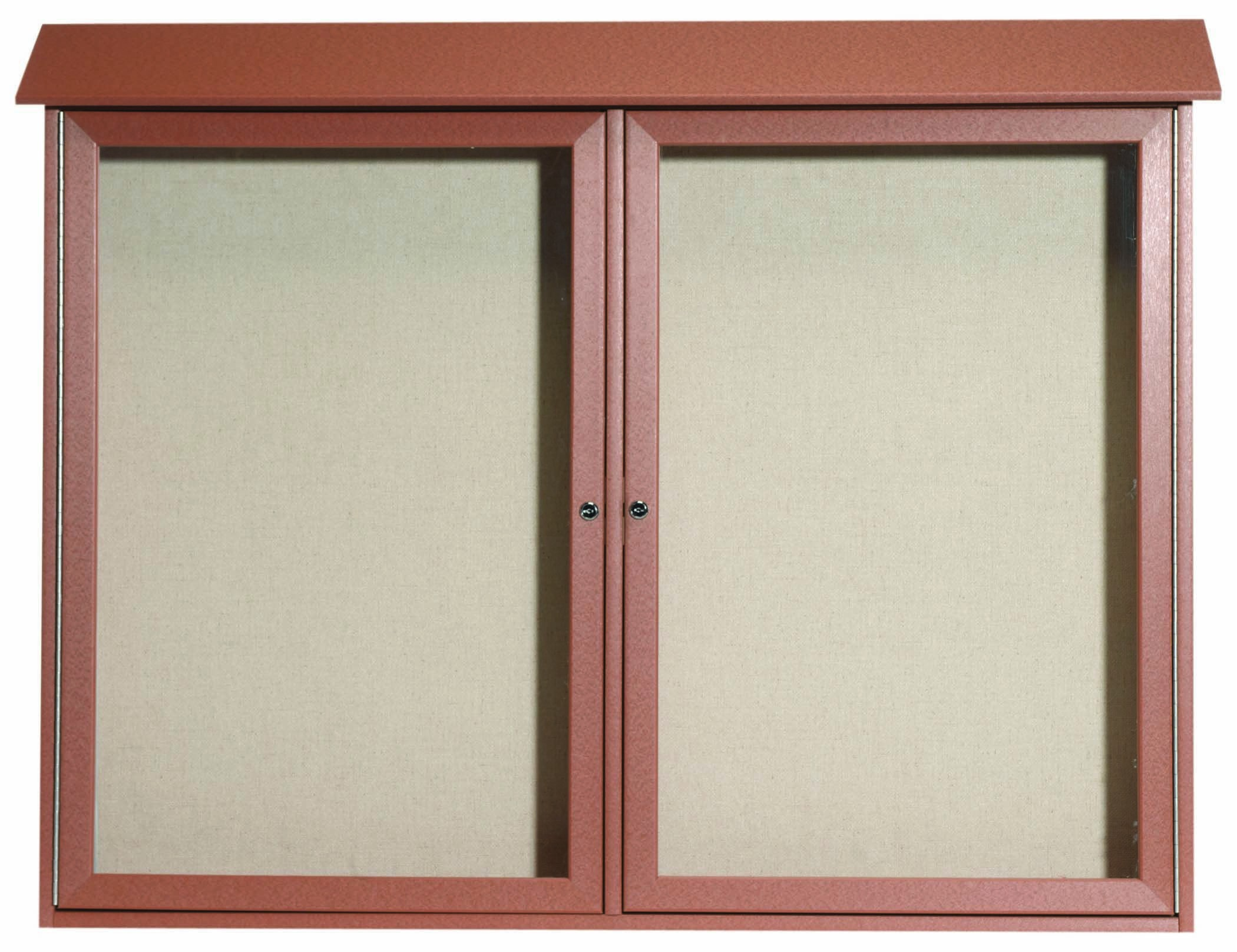 "Aarco Products PLD4052-2-5 Cedar Two Door Hinged Door Plastic Lumber Message Center with Vinyl Posting Surface, 40""H x 52""W"