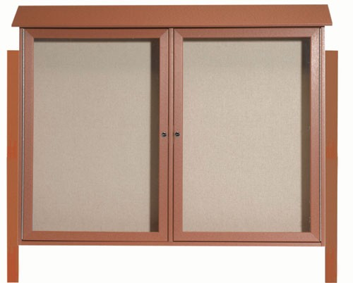 "Aarco Products PLD4052-2DPP-5 Cedar Two Door Hinged Door Plastic Lumber Message Center with Vinyl Posting Surface (Posts Included), 40""H x 52""W"