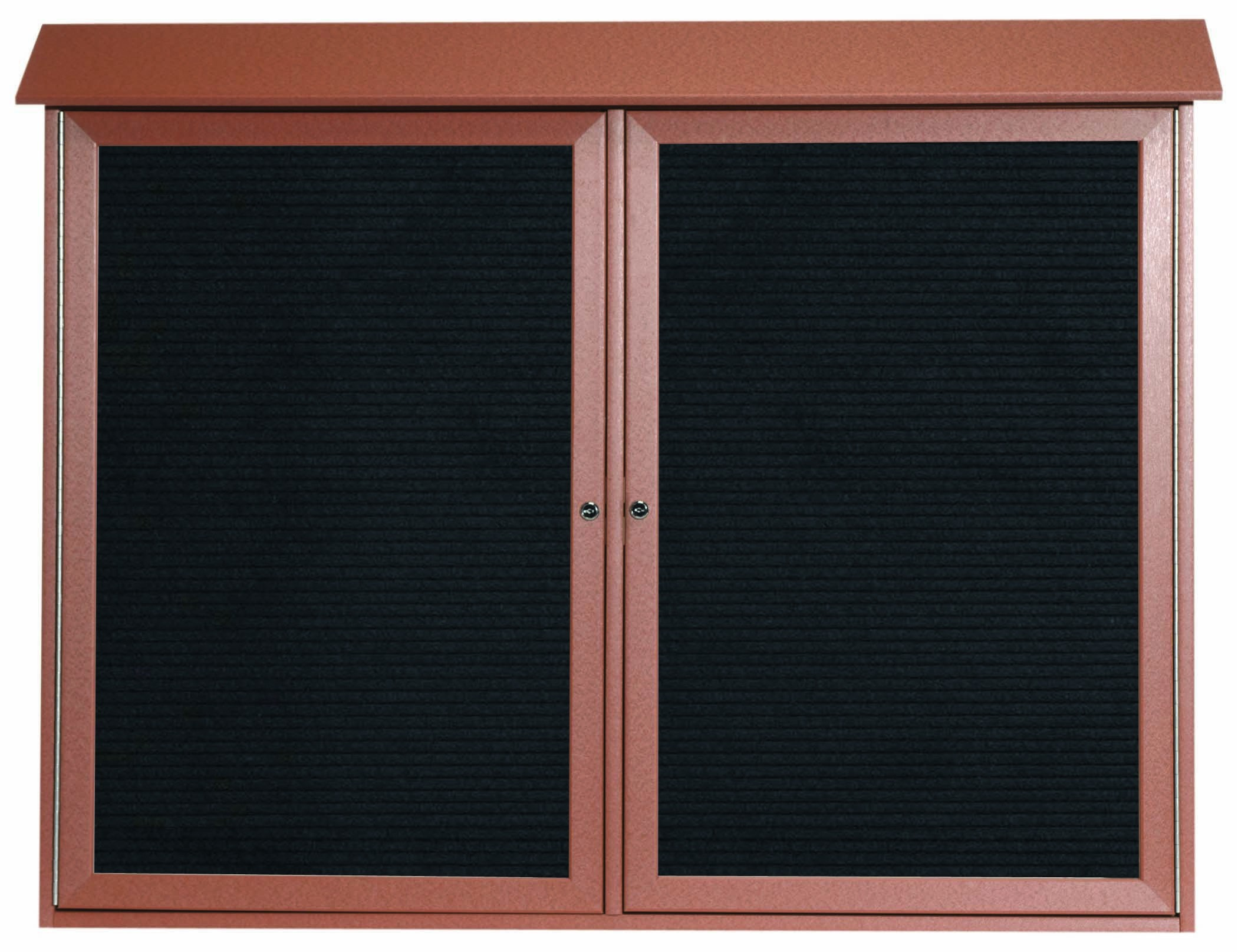 """Aarco Products PLD4052-2L-5 Cedar Two Door Hinged Door Plastic Lumber Message Center with Letter Board, 40""""H x 52""""W"""