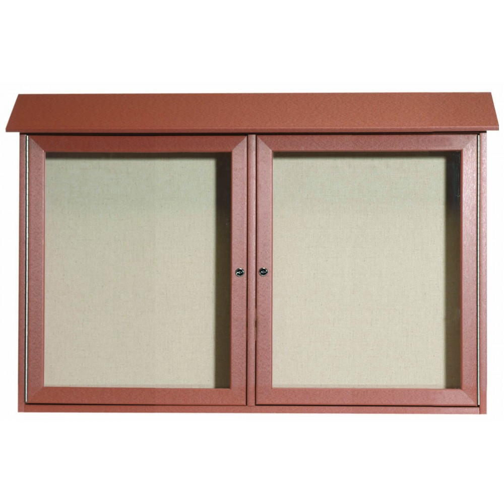 "Aarco Products PLD3045-2-5 Cedar Two Door Hinged Door Plastic Lumber Message Center with Vinyl Posting Surface, 30""H x 45""W"