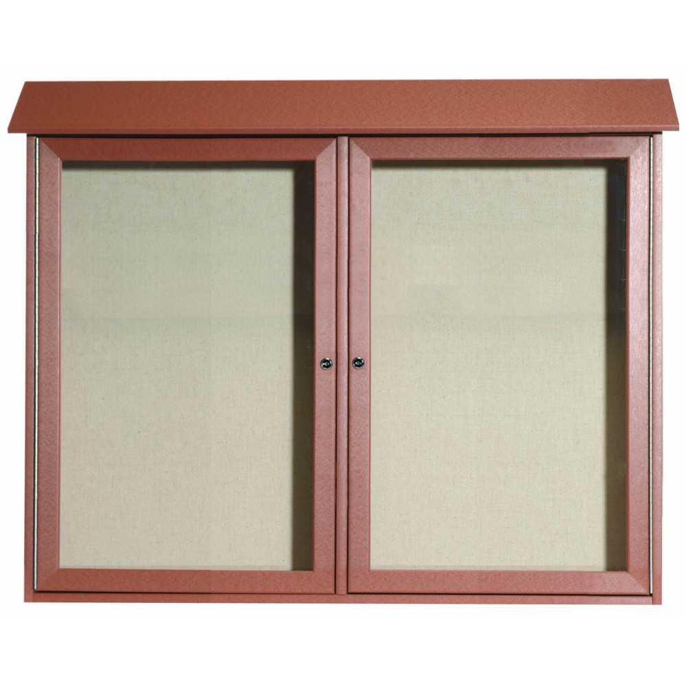 "Aarco Products PLD3645-2-5 Cedar Two Door Hinged Door Plastic Lumber Message Center with Vinyl Posting Surface, 36""H x 45""W"