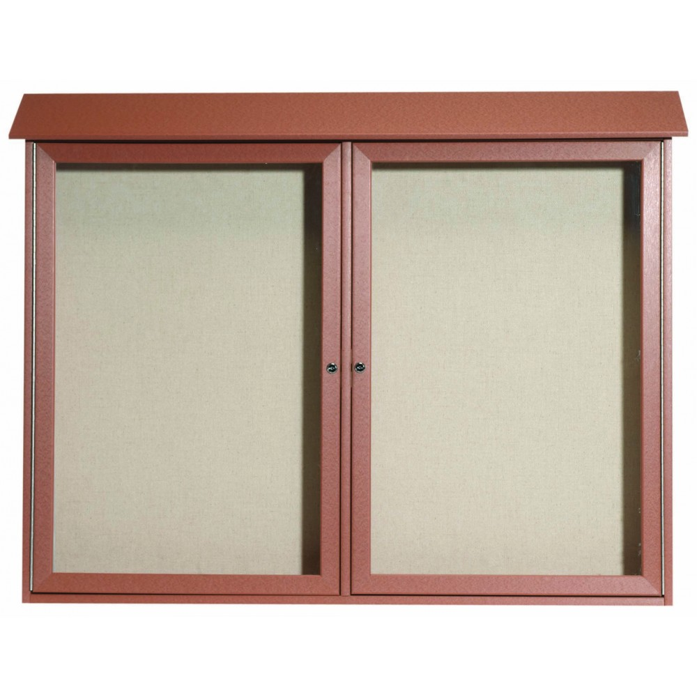 Cedar Two Door Hinged Door Plastic Lumber Message Center with Vinyl Posting Surface- 40