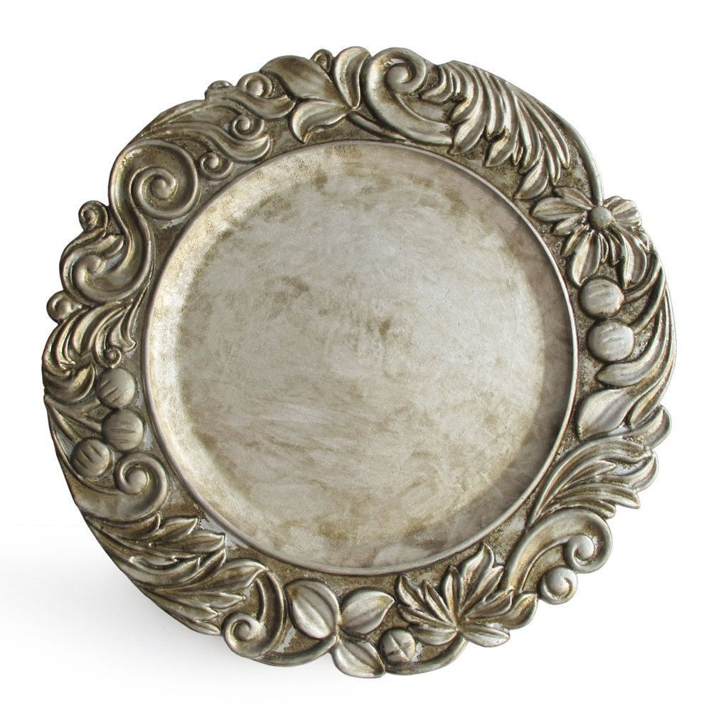 "Jay Import 1320378 ChargeIt! by Jay Aristocrat Antique Silver 14"" Charger Plate"