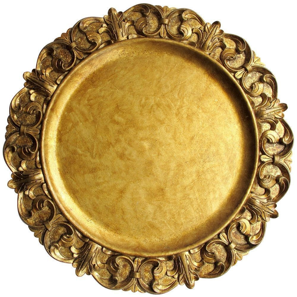 "Jay Companies 1320391 Aristocrat Gold Embossed 14"" Charger Plate"