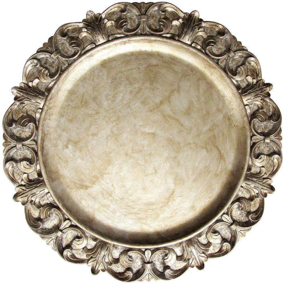 "Jay Companies 1320390 Aristocrat Silver Embossed 14"" Charger Plate"