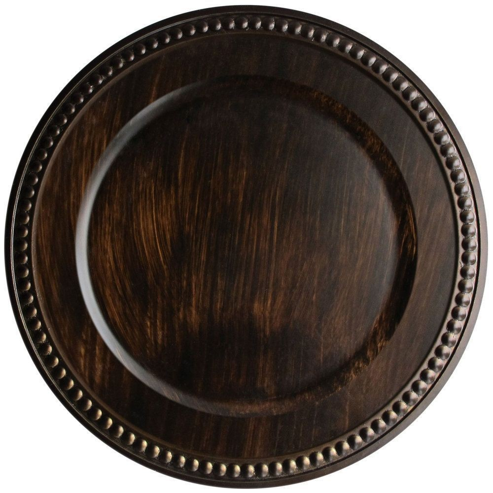 """Jay Companies 1320398 Beaded Antique Brown 14"""" Charger Plate"""