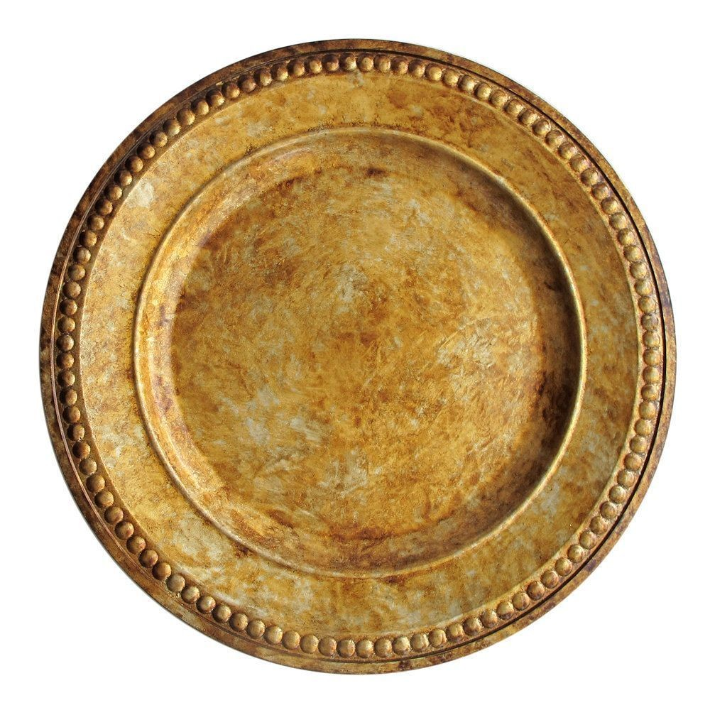 "Jay Companies 1320375 Beaded Antique Gold 14"" Charger Plate"