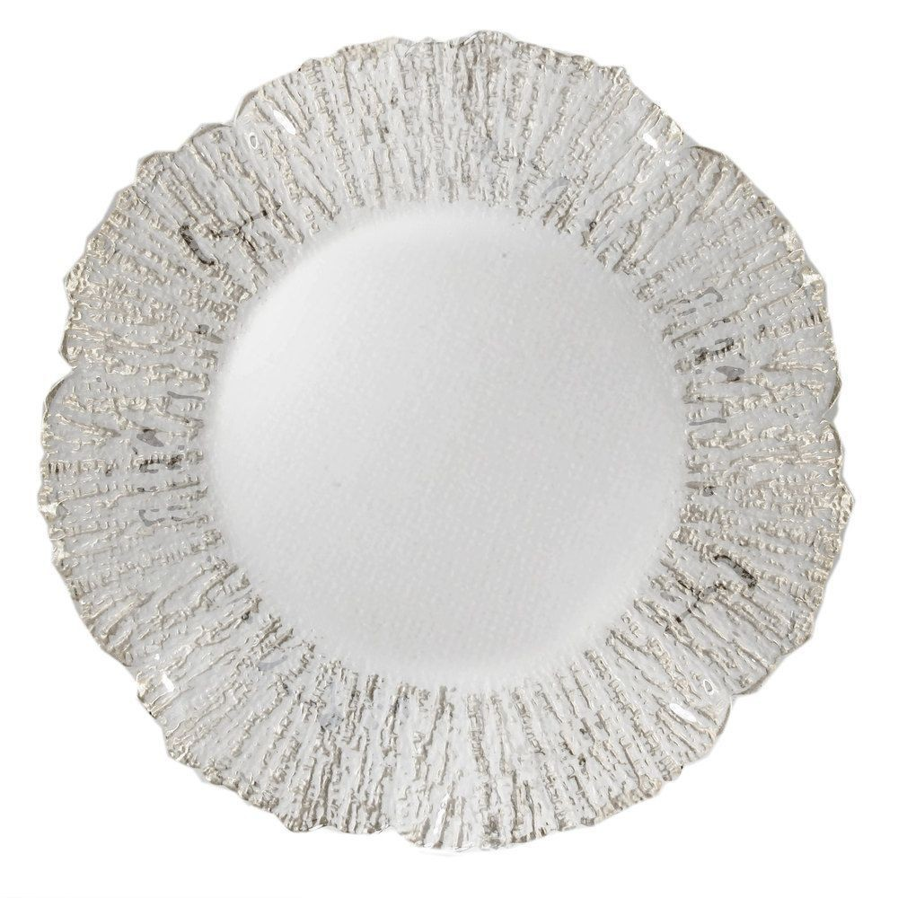 "Jay Import 1470335 ChargeIt! by Jay Deniz Silver Flower Shape 12.5"" Charger Plate"