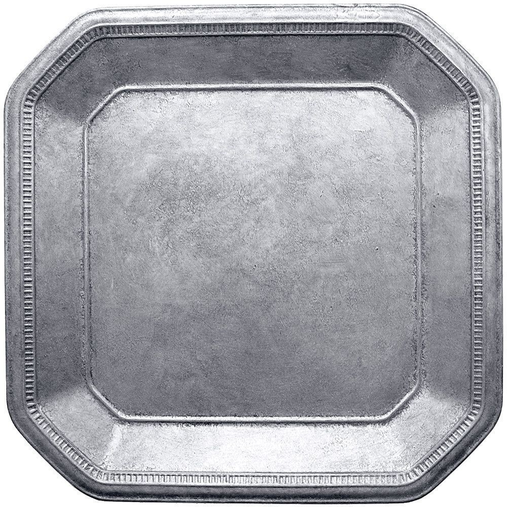 "Jay Import 1320396 ChargeIt! by Jay Silver Square Ancient 13"" Charger Plate"