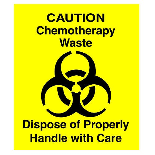 Chemotherapy Decal for Waste Basket, Yellow; 6