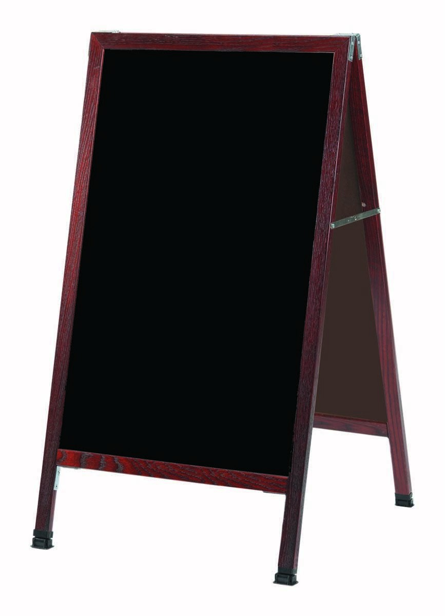 "Aarco Products MA-1P A-Frame Sidewalk Black Acrylic Marker board with Cherry Stained Solid Oak Frame, 24""W x 42""H"