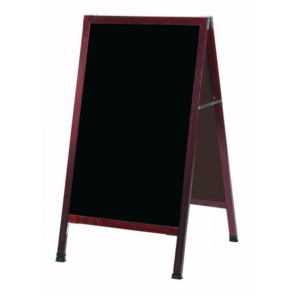 "Aarco Products MA-11 A-Frame Sidewalk Black Melamine Marker Board with Cherry Stained Solid Red Oak Frame, 24""H x 42""W"