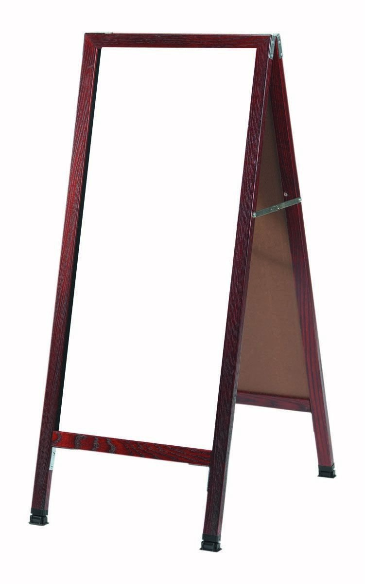 "Aarco Products MA-35 A-Frame Sidewalk White Melamine Markerboard with Cherry Stained Solid Oak Red Frame, 18""W x 42""H"