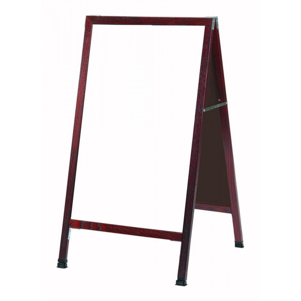 "Aarco Products MA-5 A-Frame Sidewalk White Melamine Marker Board with Cherry Stained Solid Red Oak Frame, 24""H x 42""W"