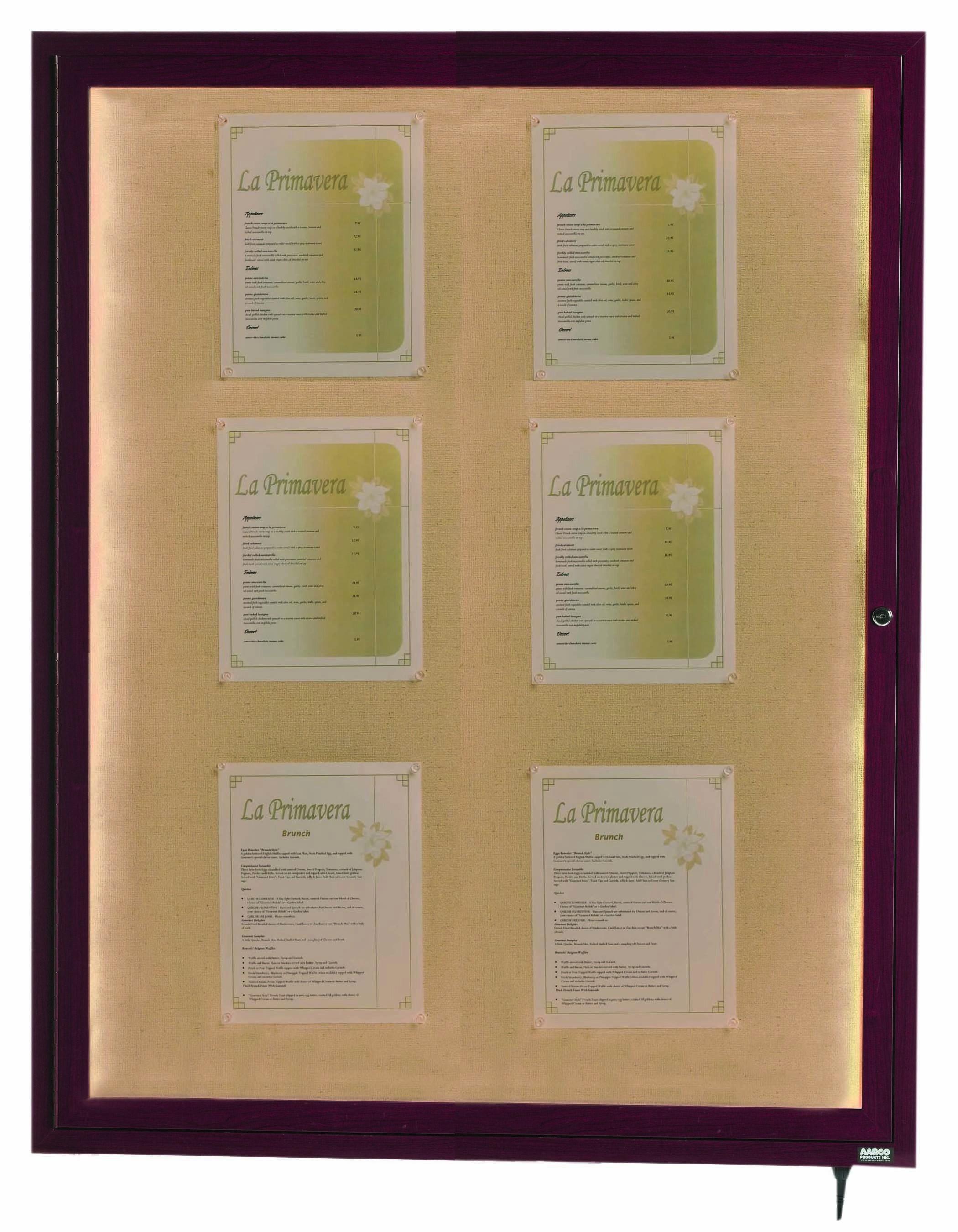 """Aarco Products LWL4836C Cherry Indoor/Outdoor Menu 1-Door Display Case 48""""H x 36""""W"""