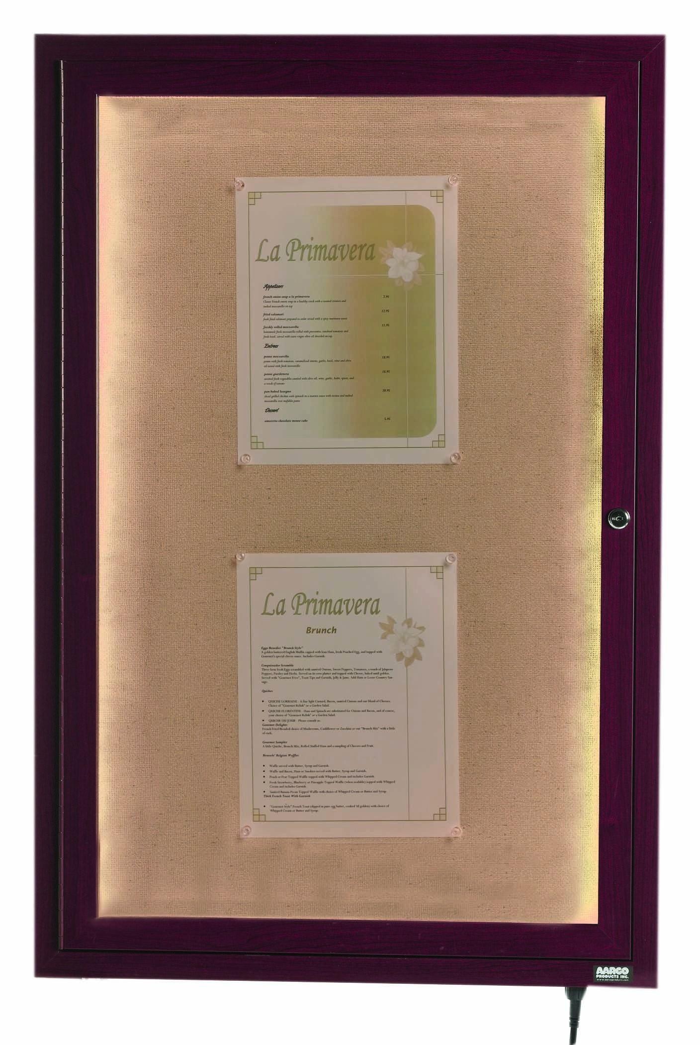 """Aarco Products LWL3624C Cherry Indoor/Outdoor Menu Display Case 36""""H x 24""""W"""
