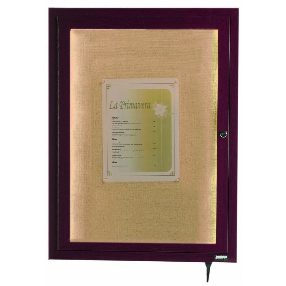 "Aarco Products LWL2418C Cherry Indoor/Outdoor Menu Display Case 24""H x 18""W"