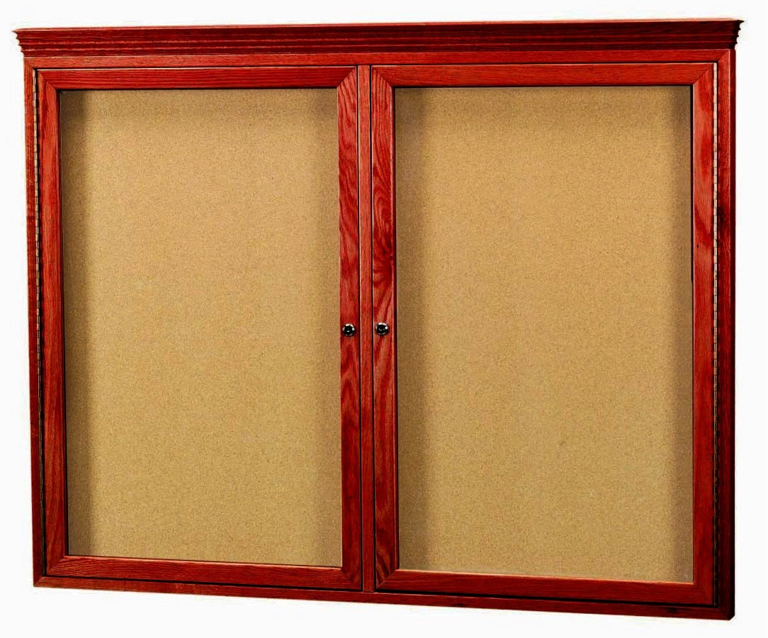 Cherry Stained 2-Door Oak Bulletin Board Cabinet W/crown Molding - 36