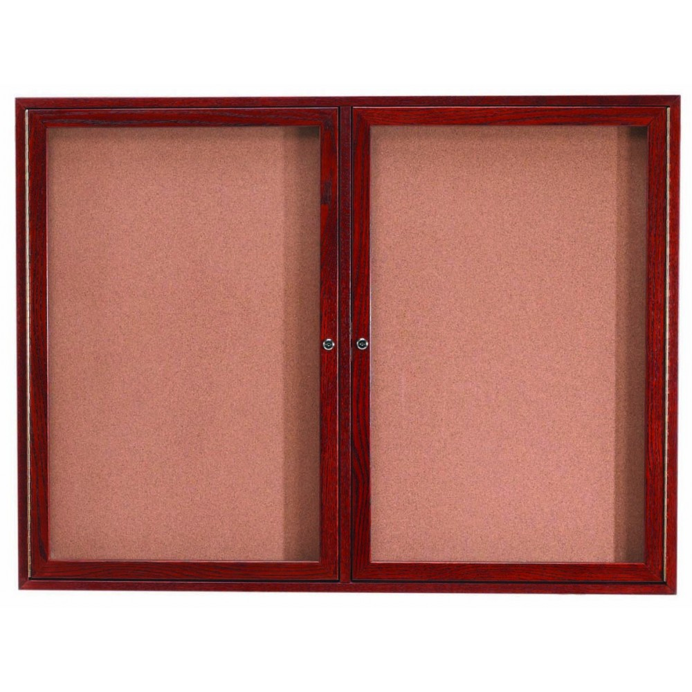 Cherry Stained 2-Door Oak Bulletin Board Cabinet - 36