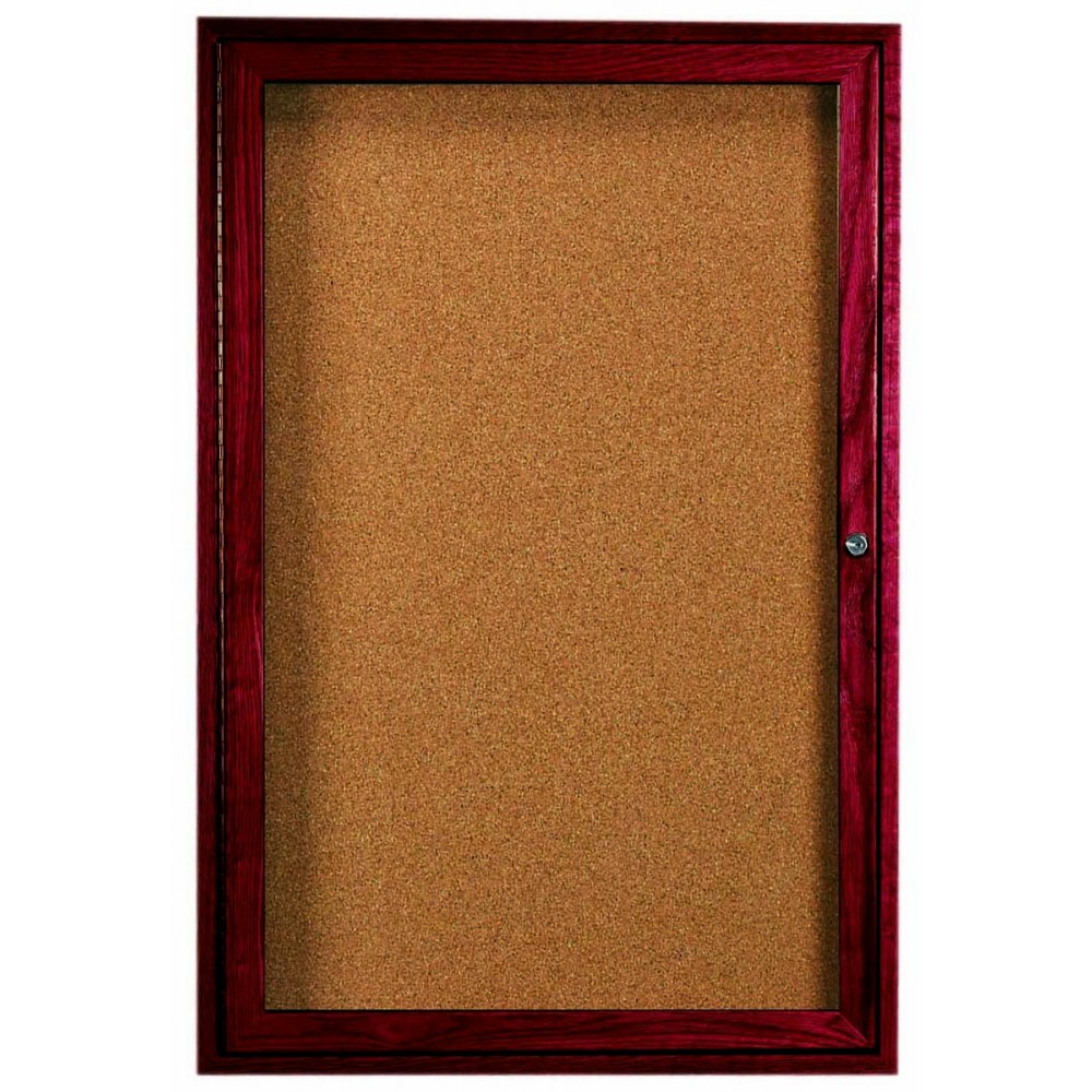 "Aarco Products CBC4836R 1-Door Enclosed Cherry Frame Bulletin Board, 48""H x 36""W"