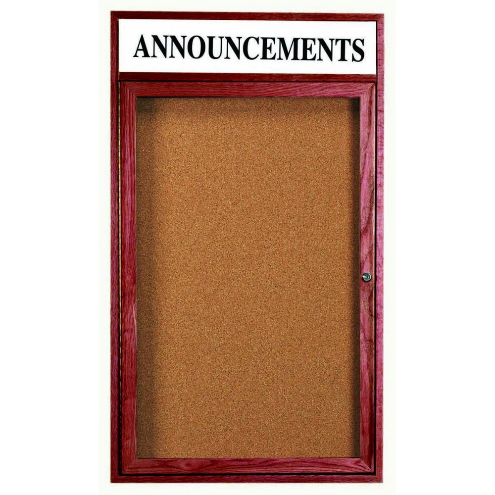 "Aarco Products CBC4836RH 1-Door Enclosed Cherry Frame Bulletin Board, with Header 48""H x 36""W"