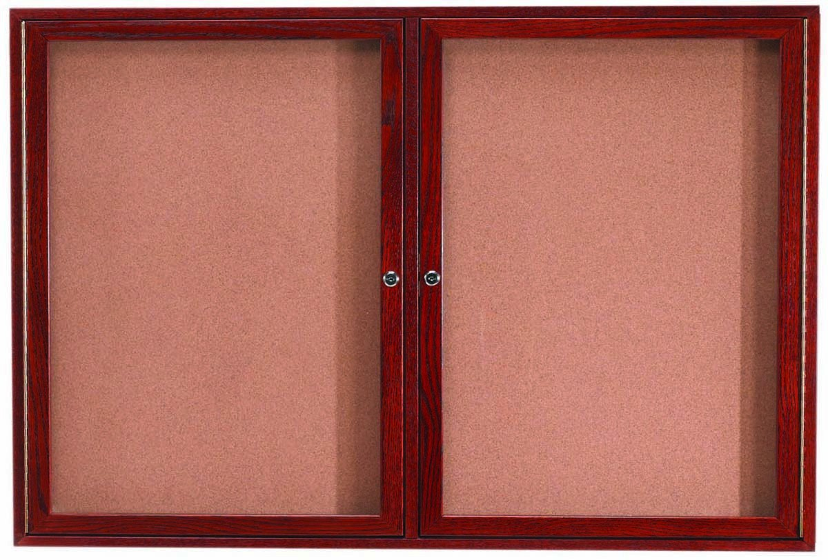 "Aarco Products CBC3660R 2-Door Enclosed Cherry Frame Bulletin Board, 36""H x 60""W"