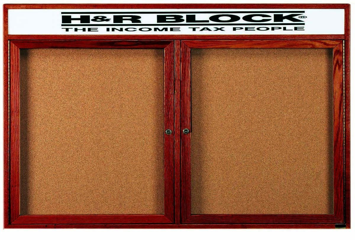 "Aarco Products CBC3660RH 2-Door Enclosed Cherry Frame Bulletin Board with Header- 36""H x 60""W"